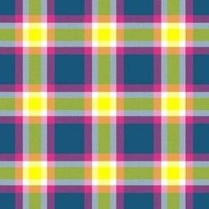 Blue Pink and Yellow Plaid by Shari Lynn's Stitches