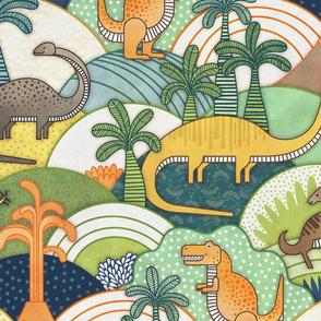 Happy Dinosaurs Large Scale- Autumn Colors-- Dinosaur Adventure- Dinos Home Decor- Jumbo