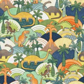 Happy Dinosaurs Small- Autumn colors- Dinosaur Adventure