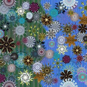 500th Design Challenge - Snowflakes on Blue/Green Split Background