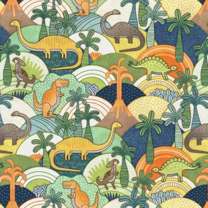 Happy Dinosaurs Mini- Autumn Colors-  Small Scale- Kids Face mask- Green- Orange- T-Rex and Friends
