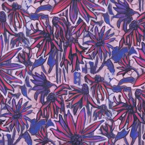 Sunroot Sunchoke Flowers Floral Pattern Pink Blue
