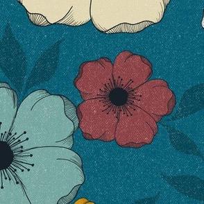 JUMBO Anemone Floral - retro