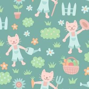 Farmer Cats on Green