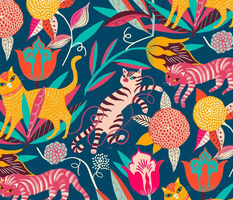 bright cats and flowers // medium scale