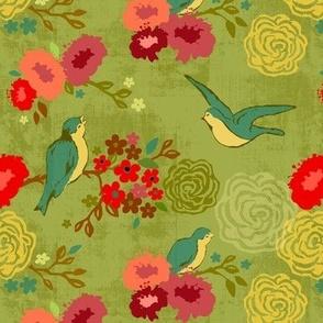 Blue Birds & Blush Blooms chartreuse L Large Scale