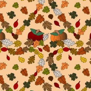 Falling Leaves Heart Fabric #2