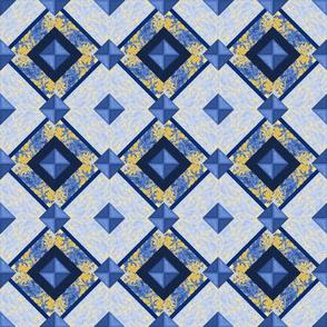 blue patchwork diamond A4