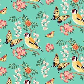 Goldfinch and Butterflies