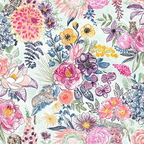Whimsical Leopards in Blooms