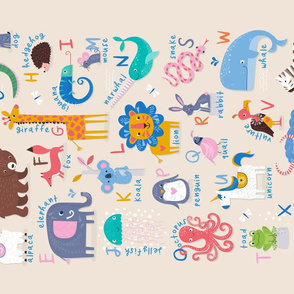 Tea Towel ABC of Animals