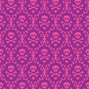 Skull Damask (Pink & Purple)