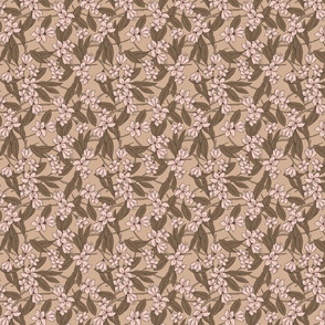 Fabric Sakura - Cherry Blossom Branches Brown and Salmon Pink - Small Scale