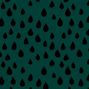 London rain drops and spots minimal trend design fall winter neutral deep forest green