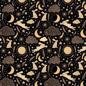 Harvest Moon Hares - Golden on black -  Smaller
