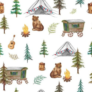 Bear Camping Adventure Camp Fire Teepee Tipi White MED
