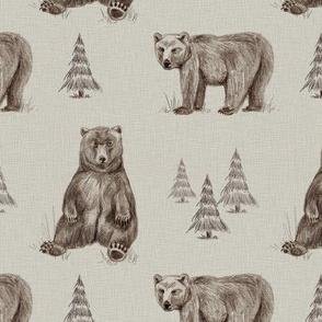Bear's Adventure in the Woods Beige Brown MED
