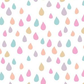 Retro confetti rain drops and spots minimal trend design spring summer pink peach blue girls