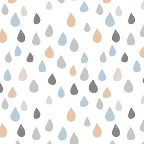 Retro confetti rain drops and spots minimal trend design fall winter blue beige boys nursery