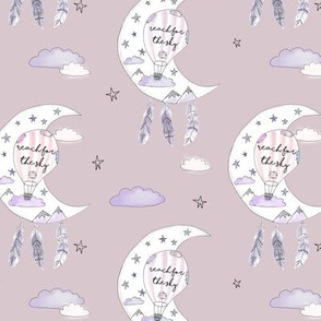 Watercolour Bohemian Moon with Feathers and Mountains Dusky PinkMED