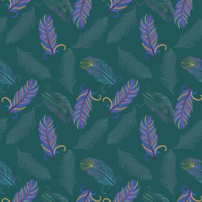 Floating Feathers Forest Green