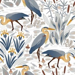 Fishing heron and irises.