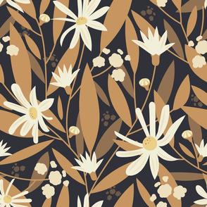 Golden Autumn Flowers Dark