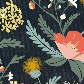 Poppy Meadow - Midnight Blue Coral Floral Large Scale
