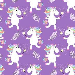 Cute unicorns on purple background