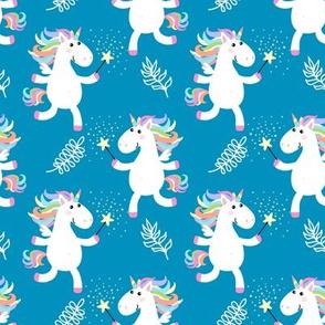 Cute unicorns on blue background