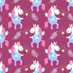 Cute unicorns on burgundy background