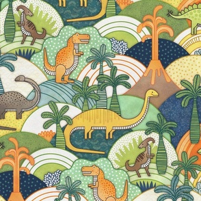 Happy Dinosaurs Medium - Autumn Colors- Dinosaur Adventure-Green- Orange-  Small Scale- Kids Face Mask- T-Rex and Friends