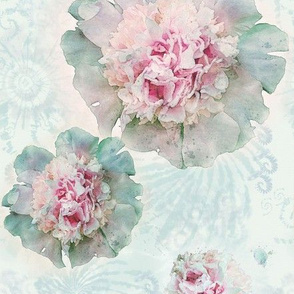 Cottage Home Large Size Watercolor Peonies on Whispery Tie Dye
