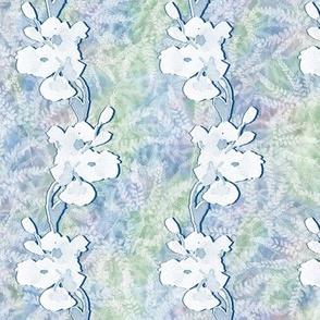 Medium Plumbago Silhouettes on Maidenhair Ferns