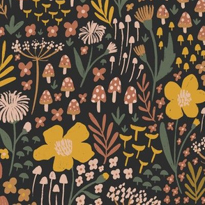 Toadstools and Woodland Wildflowers - textured flowers, leaves, and mushrooms  - medium