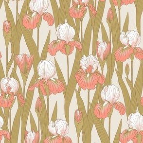 Irises in peach pink and antique gold