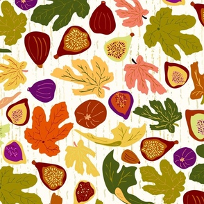 Autumn Fig Dance, large scale, multi-color, fruit & leaves