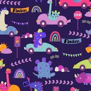 racing dinosaurs race car pink purple