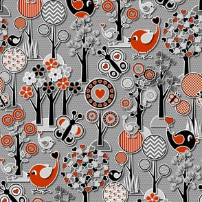 Paper Cut Mid Century Modern Nature Scene // Heart Trees, Birds and Butterflies Forest Scene // Red, Gray, Black and White