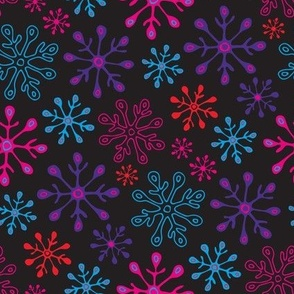 Snowflakes in Non-Traditional Bright Pink Blue Purple Red on Black - UnBlink Studio by Jackie Tahara