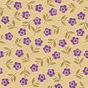Tiny Woodcut flowers, cream