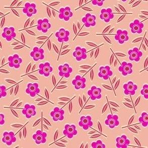 Tiny Woodcut flowers, peach