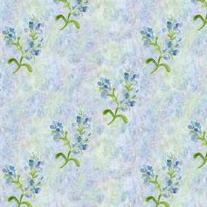 Medium Plumbago Flowers Diagonal Stripe on Maidenhair Ferns