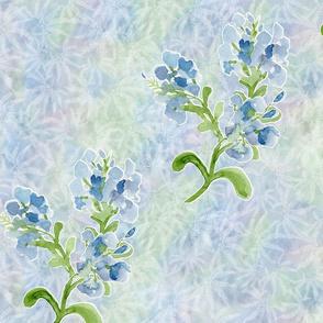 Lg Plumbago Flowers Diagonal Stripe on Maidenhair Ferns