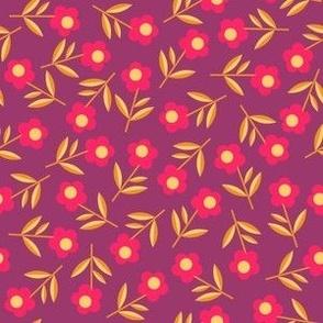 Tiny Modern Flowers, maroon