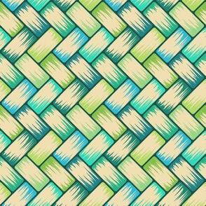 BlueGreen Palm Weave Horizontal 8in