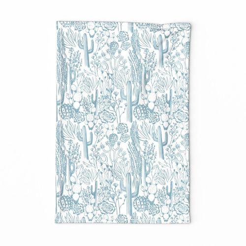 desert blue and white tea towel