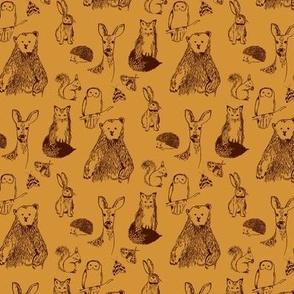 Woodland Animals on amber ditsy scale