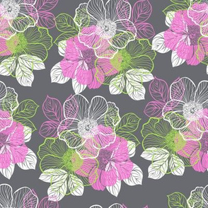 Flowers of peony - pink, green, white on gray