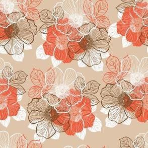 Flowers of peony - orange on beige